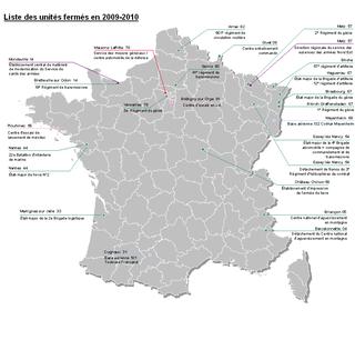 Carte fermeture des sites militaires 2009-2010